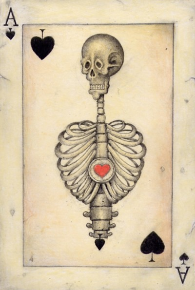 The Ace of Spades reversed stands for endings and destruction